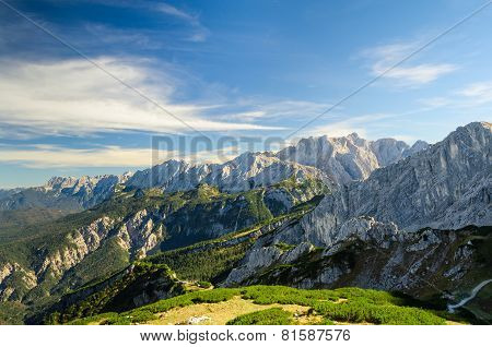 Alps Sunlight High Mountains Peaks With Green Valley And Blue Sky