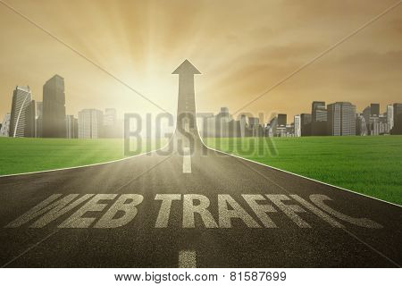 Road Rises Upward With Web Traffic Text
