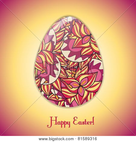 Easter Egg Greeting Card With Abstract Hand Drawn Ornament.
