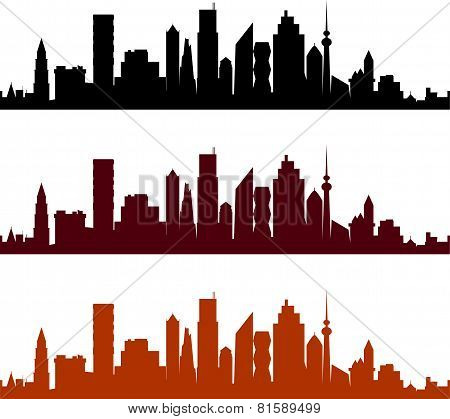 View of a city with skyscrapers