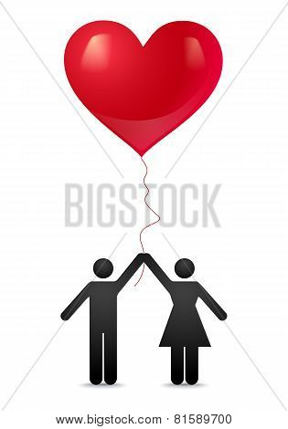 Guy and girl with balloons