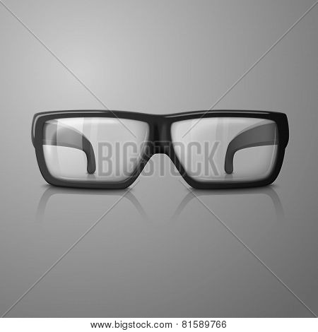 Vector realistic glasses with transparent glass for every background.