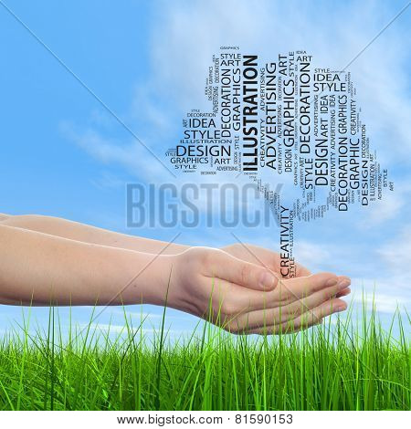 Concept conceptual abstract art design word cloud tagcloud tree on blue sky background and grass