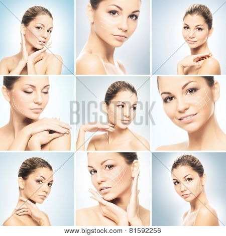 Collection of portraits with arrows. Beautiful and healthy young girl. Face lifting, plastic surgery and makeup concept.