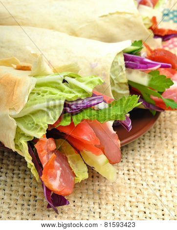 Tasty  Shawarma With Fresh Vegetables And Meat, Lavash, Pita, Appetizer On Sacking