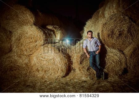 Handsome Caucasian Young Man In The Hay Barn
