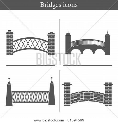 Set of bridge icons