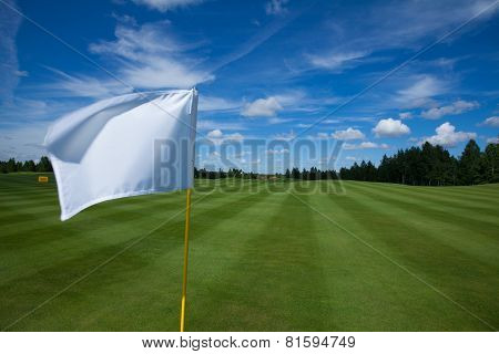 White flag in the golf course
