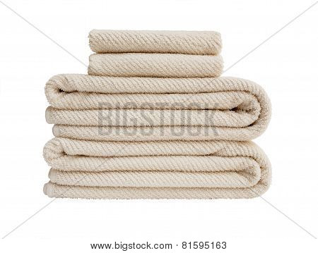 White Bath Towels In Stack Isolated Over White