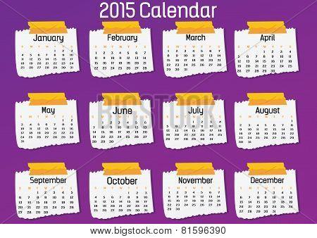 2015- Note Paper Calendar
