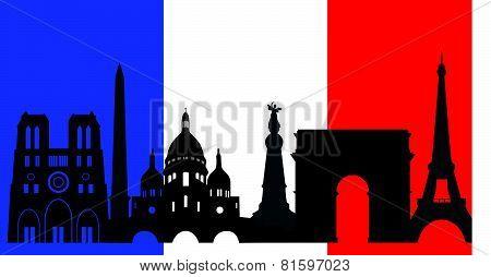 France  Skyline And Flag
