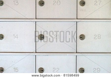 Numbered Locked Metal Mailboxes