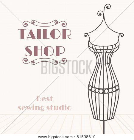 Vintage Iron Mannequin. Tailor Shop Background