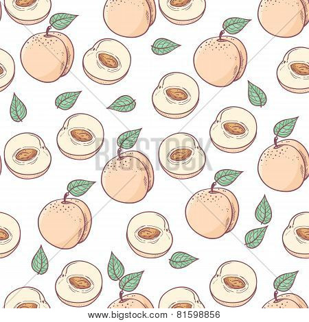 Hand Drawn Peach With Slice Seamless Pattern