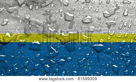 a flag of Czestochowa with rain drops