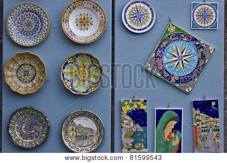 Colorful Display Of Traditional Amalfi Hand Painted Ceramics