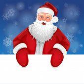 pic of rudolph  - Santa with banner on a background of snowflakes - JPG