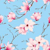 picture of japanese magnolia  - Blue skies and magnolia flowers seamless vector pattern - JPG