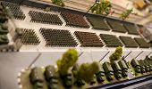 stock photo of top-gun  - military toy soldiers formation parade top view - JPG