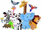 foto of platypus  - Vector illustration of Cartoon wild animals background - JPG