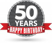 pic of 50th  - Happy birthday 50 years retro label with red ribbon - JPG