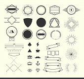 picture of generator  - set of vintage elements for making logos badges and labels vector illustration - JPG