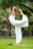 pic of natarajasana  - Beautiful woman practicing yoga in the park. Lord Shiva Dancing Pose Natarajasana. ** Note: Soft Focus at 100%, best at smaller sizes - JPG