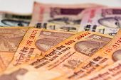 stock photo of indian currency  - Indian Currency different Rupee bank notes background - JPG