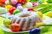 picture of gift basket  - Easter cake eggs and tulips - JPG