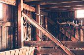 stock photo of farm  - Rustic Barn Interior - JPG