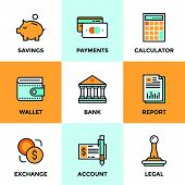 pic of coin bank  - Line icons set with flat design elements of finance objects and banking services financial items and money symbol bank building and currency exchange - JPG