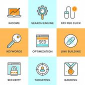 picture of growth  - Line icons set with flat design of search engine optimization optimize website with SEO for traffic growth and rank result keywording and link building - JPG