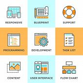 foto of internet icon  - Line icons set with flat design elements of responsive web development service website programming process webpage coding and user interface creating - JPG