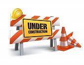 foto of reconstruction  - Under Construction Sign in White Background - JPG
