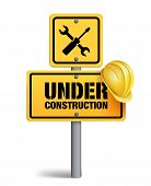 pic of safety barrier  - Under Construction Sign in White Background - JPG