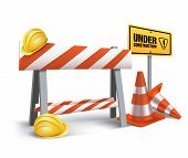 image of safety barrier  - Under Construction Sign in White Background - JPG