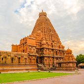 pic of trichy  - View at the tower Hindu Brihadishvara Temple India Tamil Nadu Thanjavour  - JPG