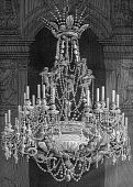 picture of ou  - Engraving of old chandelier with angels by artist Louis Figuier - JPG