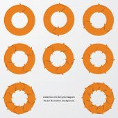 image of flow  - collection of orange color arrow circle flows - JPG