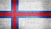 pic of faro  - Faroe Islands flag on burlap fabric for your design - JPG