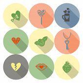 stock photo of broken heart flower  - Simple Flat Icons Collection for Valentines Day - JPG