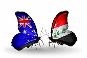 stock photo of iraq  - Two butterflies with flags on wings as symbol of relations Australia and Iraq - JPG