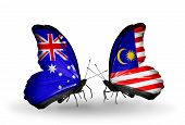 picture of malaysia  - Two butterflies with flags on wings as symbol of relations Australia and Malaysia - JPG
