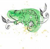 foto of chameleon  - Vector hand drawn illustration with cartoon Chameleon - JPG