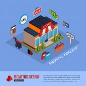 stock photo of isometric  - Isometric shopping concept background with place for text - JPG