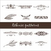 image of wigwams  - Set of twelve different brown ethnic doodle patterns - JPG