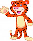 picture of tiger cub  - illustration of cute baby tiger cartoon waving - JPG