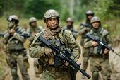 picture of bodyguard  - Soldiers Standing With The Team And Is Looking Forward - JPG