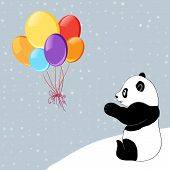 foto of panda  - Shine dots background with colorful baloons and panda - JPG