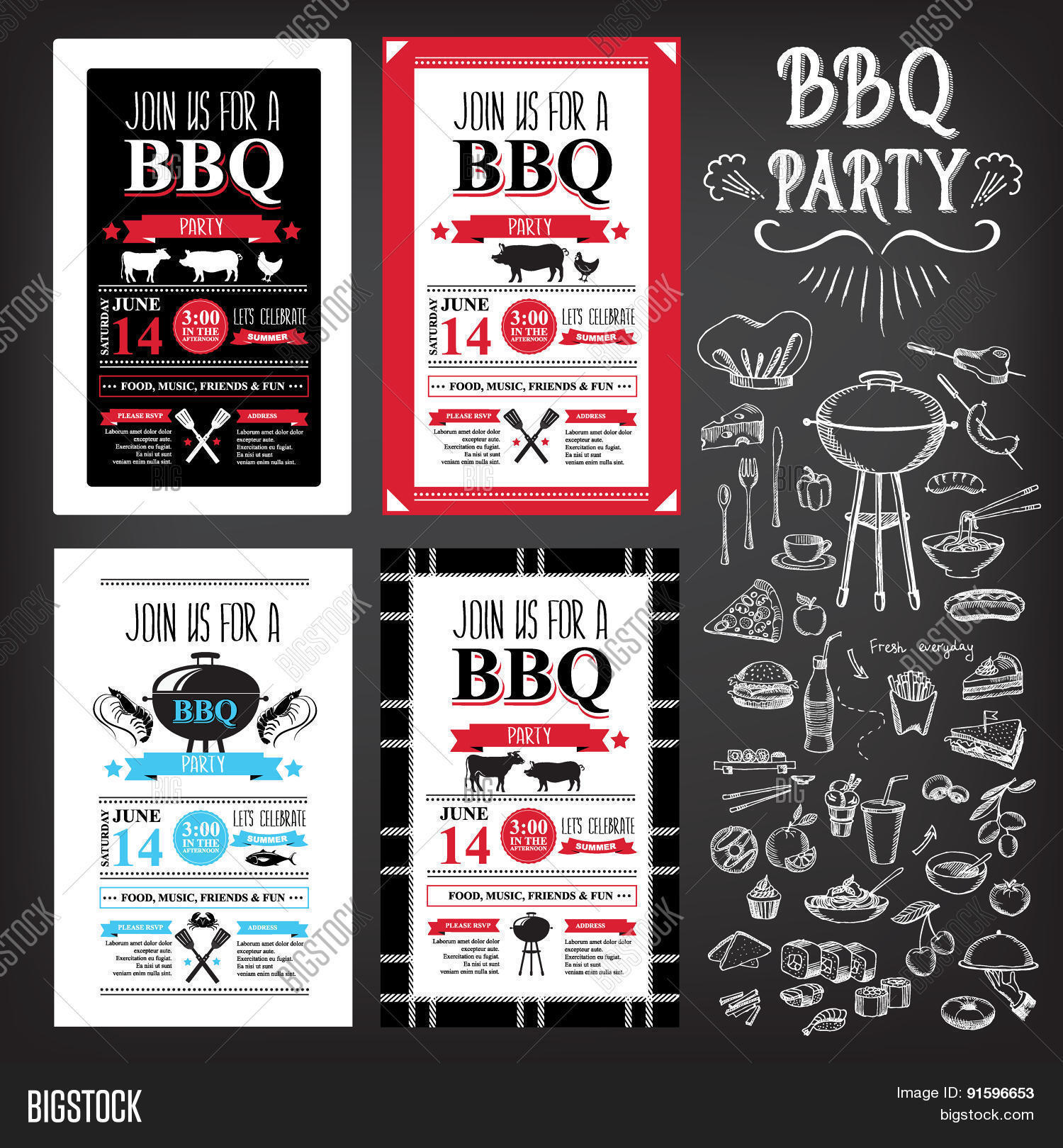 barbecue party invitation bbq template menu design food flyer stock vector stock photos. Black Bedroom Furniture Sets. Home Design Ideas